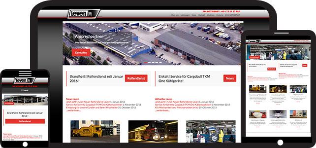 Webseite der Firma Leven Nutzfahrzeuge GmbH & Co. KG