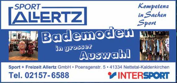 """Anzeigengestaltung für """"Sport & Mode Allertz"""""""
